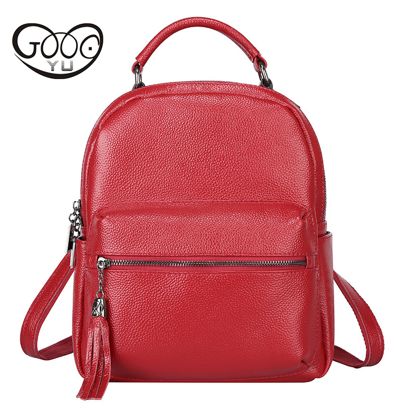 GOOG.YU Brand Luxury Fashion Oil Wax Cowhide Women Girl Female Genuine Leather Backpack Real Leather Woman Tote Bags Woman Bag hot sale women s backpack the oil wax of cowhide leather backpack women casual gentlewoman small bags genuine leather school bag