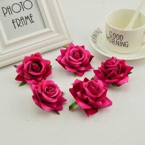 Image 5 - 100 stücke seide rosen kopf DIY hand kränze hut blume rot rosa weiß blau künstliche blume billig für home hochzeit dekoration