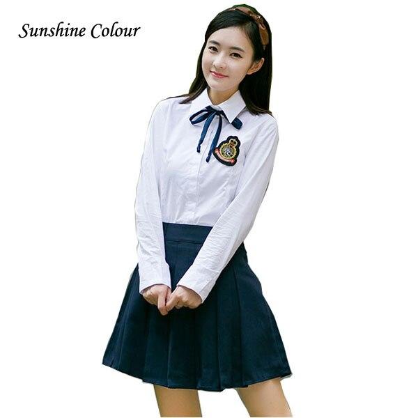 Ensembles Shirt JK Survêtements pour École Jupe cravate Costumes Badge Coréenne Uniformes JuniorSenior jupe 3Xl dans School Sport Filles Marin High OUfWw