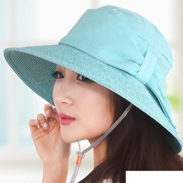 Donne di paglia cappello del sole all aperto casual cappello protezione  solare femminile cappello di 4af3e7b6b288