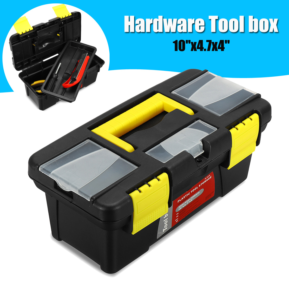 10 Inch Multifunctional Tool Box Portable Plastic Metal Screw Screwdriver Storage Toolbox With Locking Auto Repair Tool Case