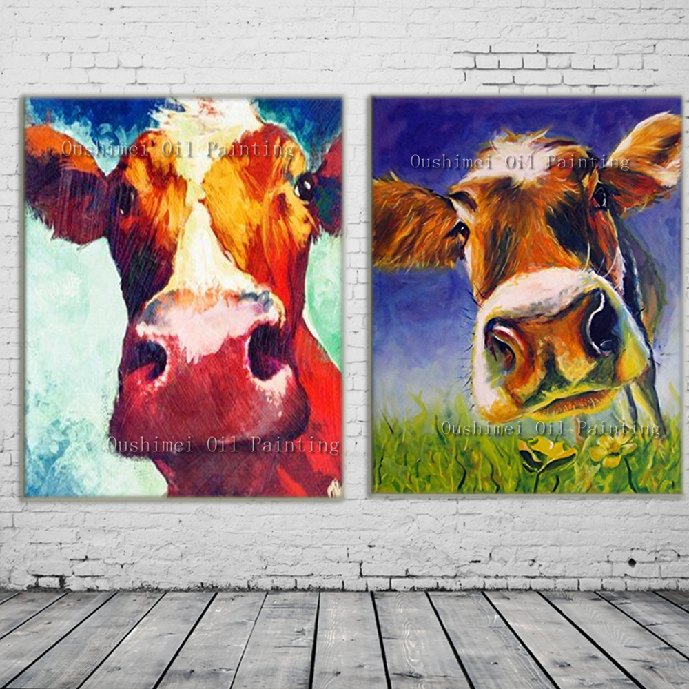 online kaufen gro handel cow art leinwand aus china cow art leinwand gro h ndler. Black Bedroom Furniture Sets. Home Design Ideas