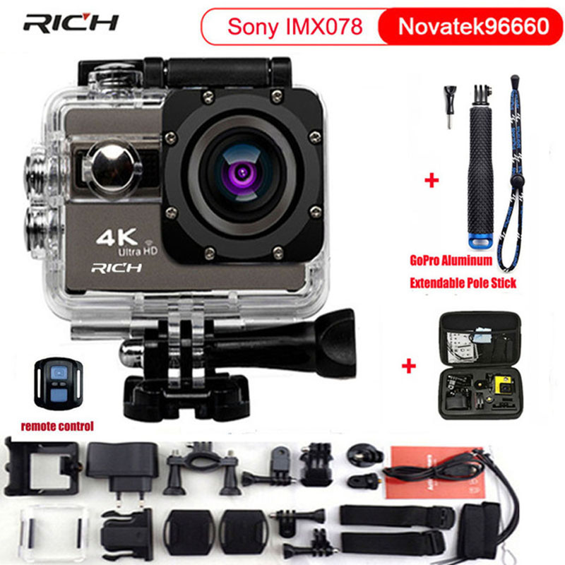 RICH Action Camera F68 F68R Ultra HD 4K 1080P Wifi 16MP 2 Inch Voice Alert 170 Len Helmet Cam Extreme Sports Camera image