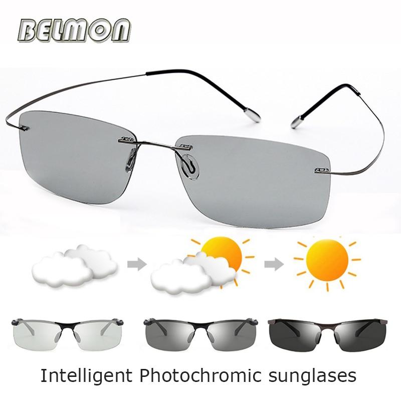 BELMON Polarized Sunglasses Men Driver Intelligent Pure Titanium Rimless Photochromic Sun Glasses For Male Driving UV400 RS722