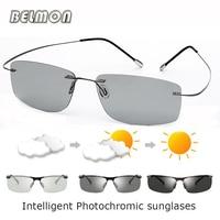 309acf3229 BELMON Polarized Sunglasses Men Driver Intelligent Pure Titanium Rimless  Photochromic Sun Glasses For Male Driving UV400