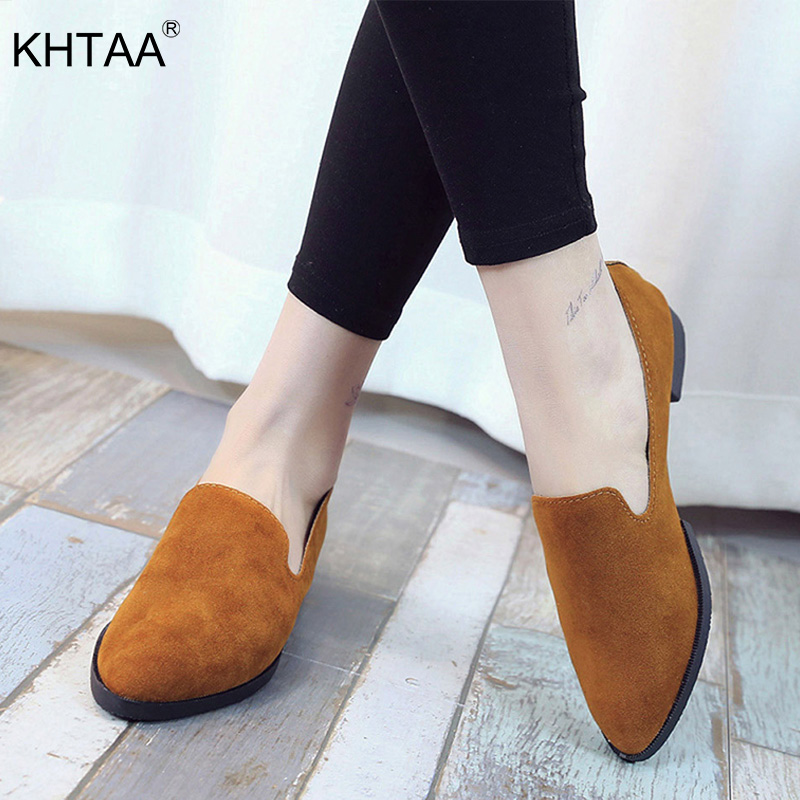 2019 Spring Women Slip On Loafers Solid Suede Casual Flats Fashion Shallow Shoes Female Frosted Pointed Plain Flat Shoes Ladies