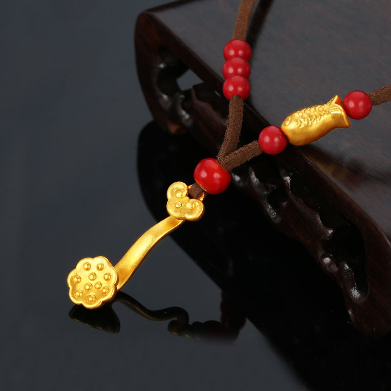 New Arrival Pure 24K Yellow Gold Necklace Chain RuYi Fish Weave Necklace