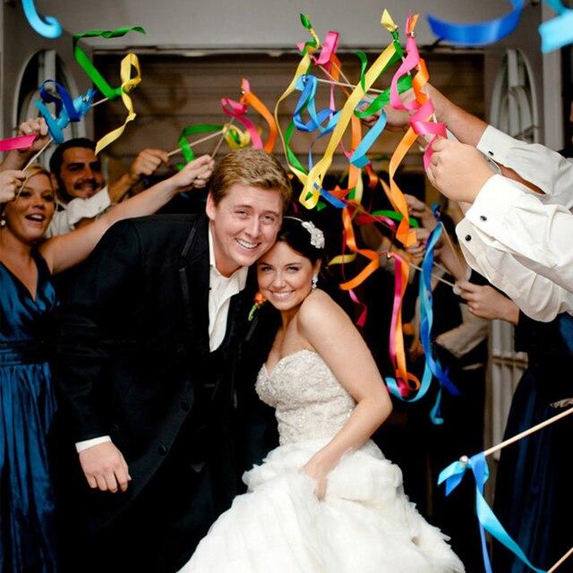 Free Shipping 50pcs Twirling Wedding Ribbon Wands Party Decoration