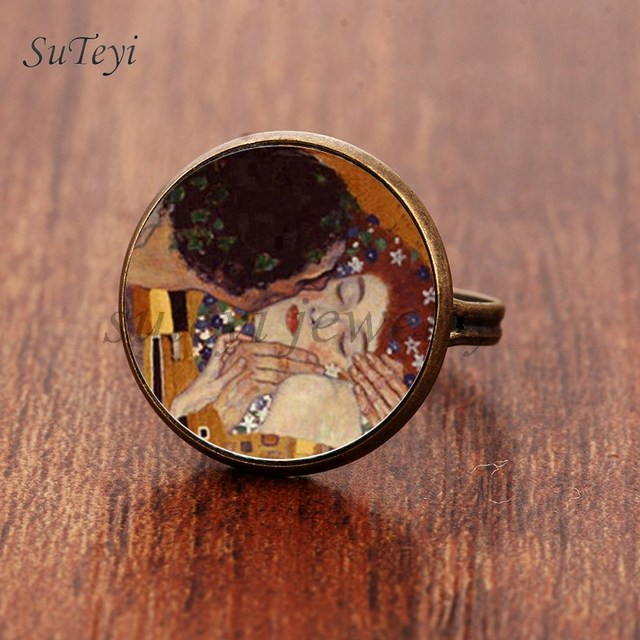 SUTEYI Fashion The Kiss Klimt Cameo Glass Art Picture Ring Photo Handcrafted Jew