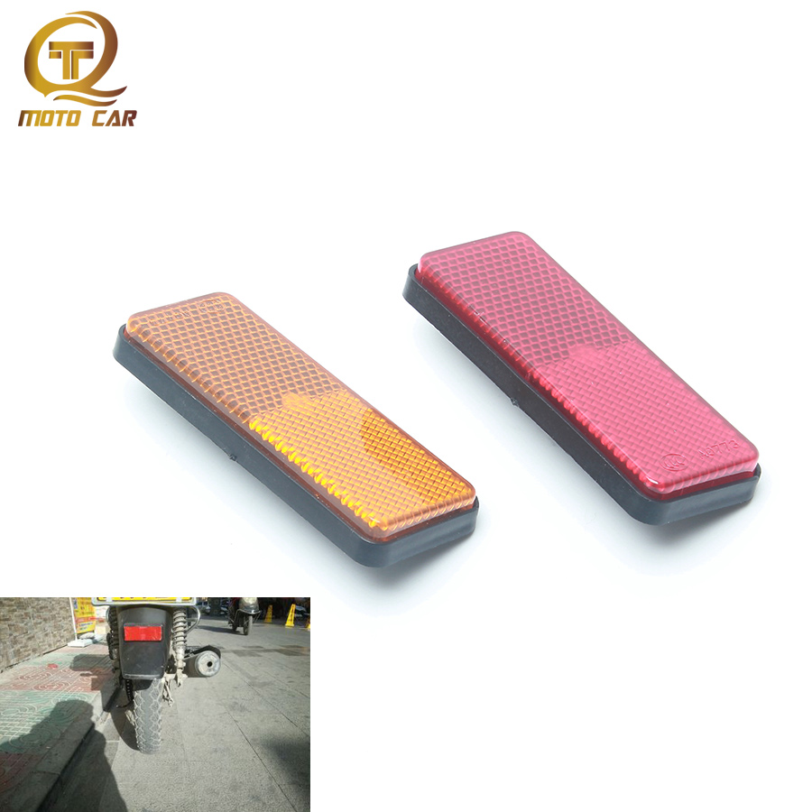 Universal Motorcycle Rear Fender Reflector Mouldings Red Orange Square Safety Warning Sign FOR Moto ATV Bikes Dirt Bikes Scoote