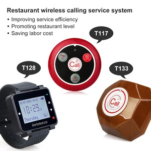 Image 3 - RETEKESS kablosuz çağrı sistemi restoran çağrı Beeper 1 izle alıcı + 1 düğmesi mutfak + 5 çağrı düğmesi müşteriler için