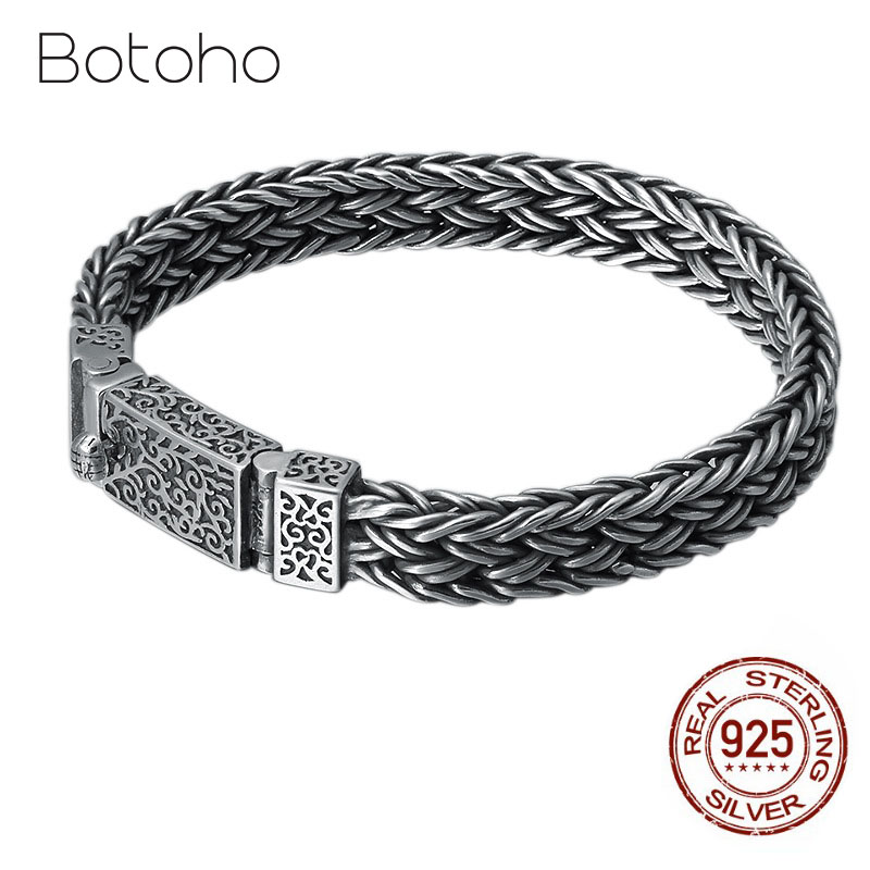 Real S925 Sterling Silver Woven Braided Mens Bracelet Wrist Chain Jewelry Fashion Personality Retro Thai Silver Buckle BraceletReal S925 Sterling Silver Woven Braided Mens Bracelet Wrist Chain Jewelry Fashion Personality Retro Thai Silver Buckle Bracelet