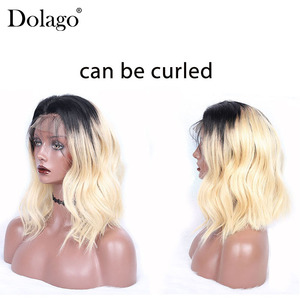 Image 4 - 613 Lace Front Human Hair Wigs T1B 613 Brazilian Straight Honey Blonde Short Bob Wigs Omber Bob Lace Front Wig Cut Dolago Remy