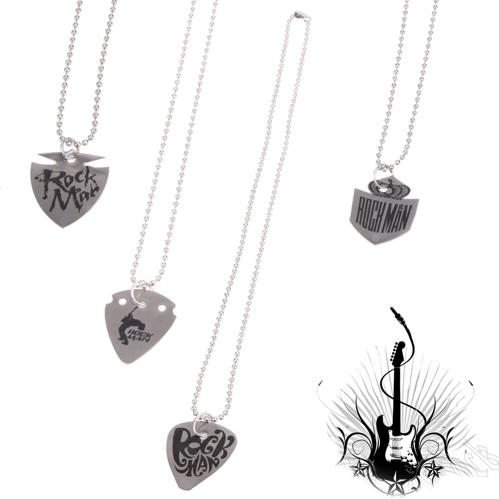 buy stainless steel guitar pick necklace chain length 60cm silver high quality. Black Bedroom Furniture Sets. Home Design Ideas