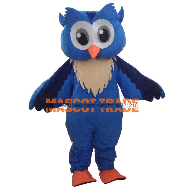 Nouveau Costume de mascotte de grand hibou bleu professionnel Costume de dessin animé taille adulte