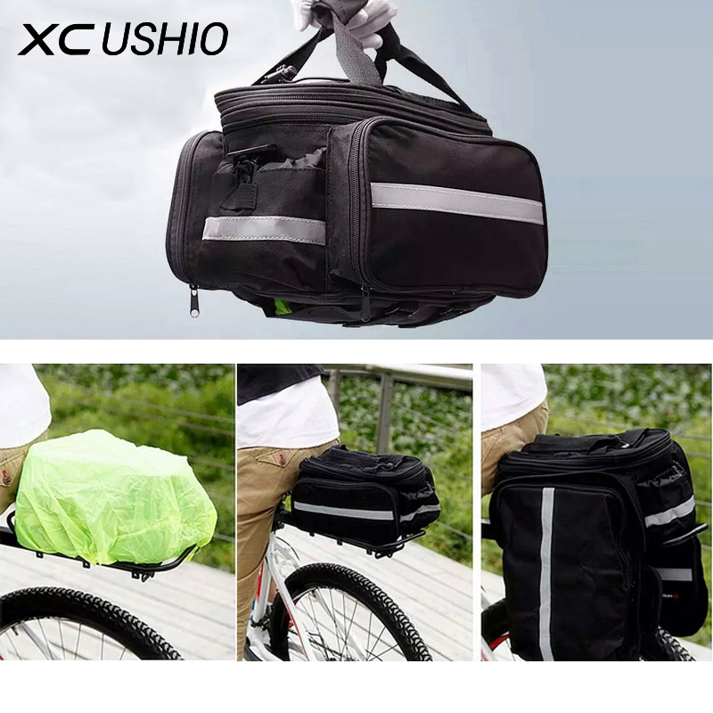 Promotion Convertible Bicycle Luggage Bag Road Mountain Bike Rear Seat Rack Cargo Carrier Container Bag with Rainproof Cover outdoor rainproof multifunction bike luggage carrying bag black grey 67l