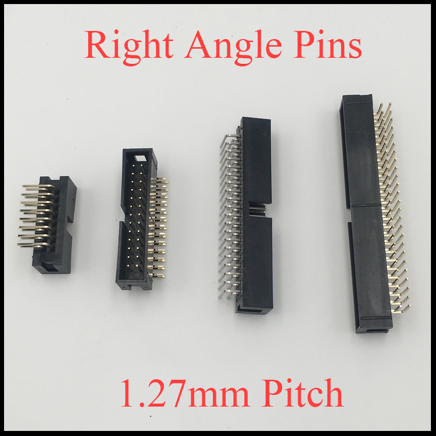 DC3 10P 14P 16P 20P 10 14 16 20 Pins 1.27mm Pitch Right Angle Double Row Space Connector IDC ISP JTAG Male Header Socket Box