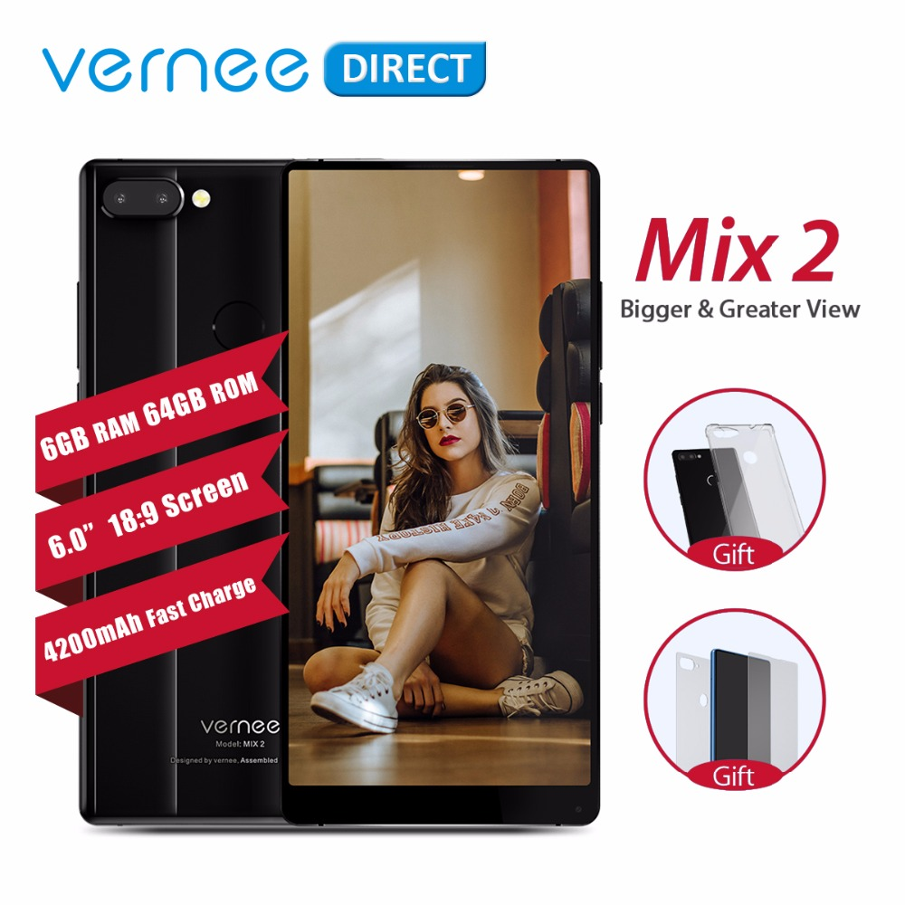 Original Vernee Mix 2 Mobile Phone 6GB 64GB 6''18:9 HD Display Fast Charger 13MP+5MP Dual Rear Camera Fingerprint Cell Phone