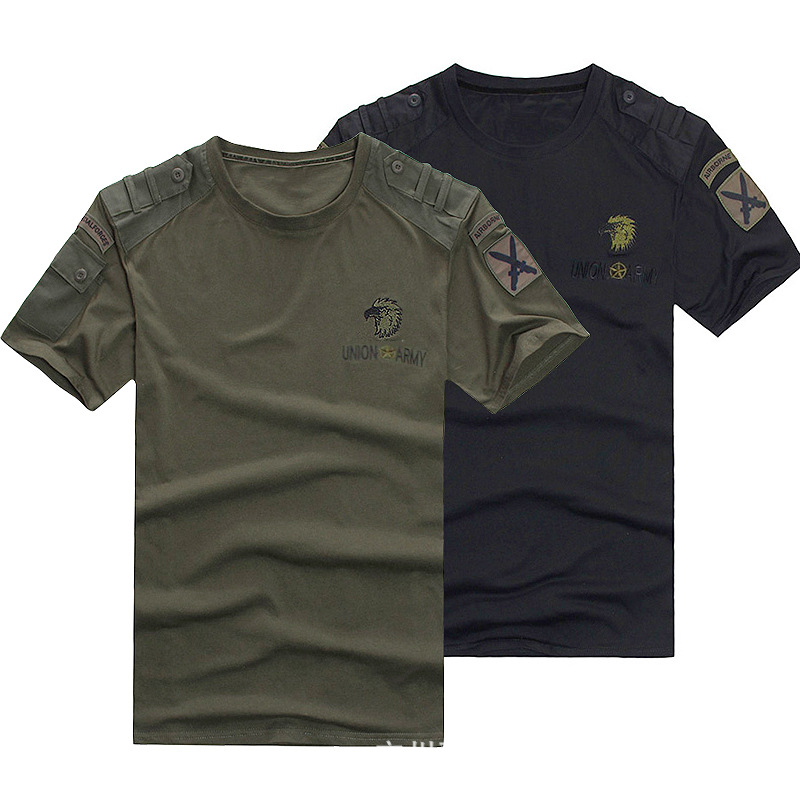 Outdoor Sports Military Fans Short Sleeve T-shirt Male Summer Training Climbing Loose Cotton Breathable Tactical T Shirt Tops
