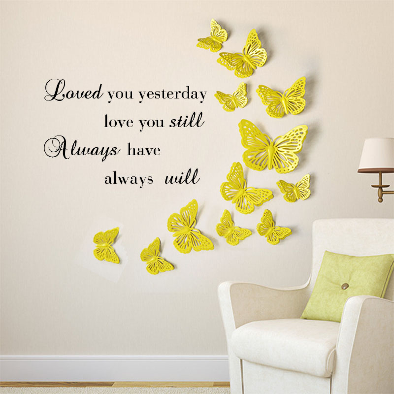 Morden 3D Butterfly Wall Stickers DIY Home Decor Stickers Iron Art ...