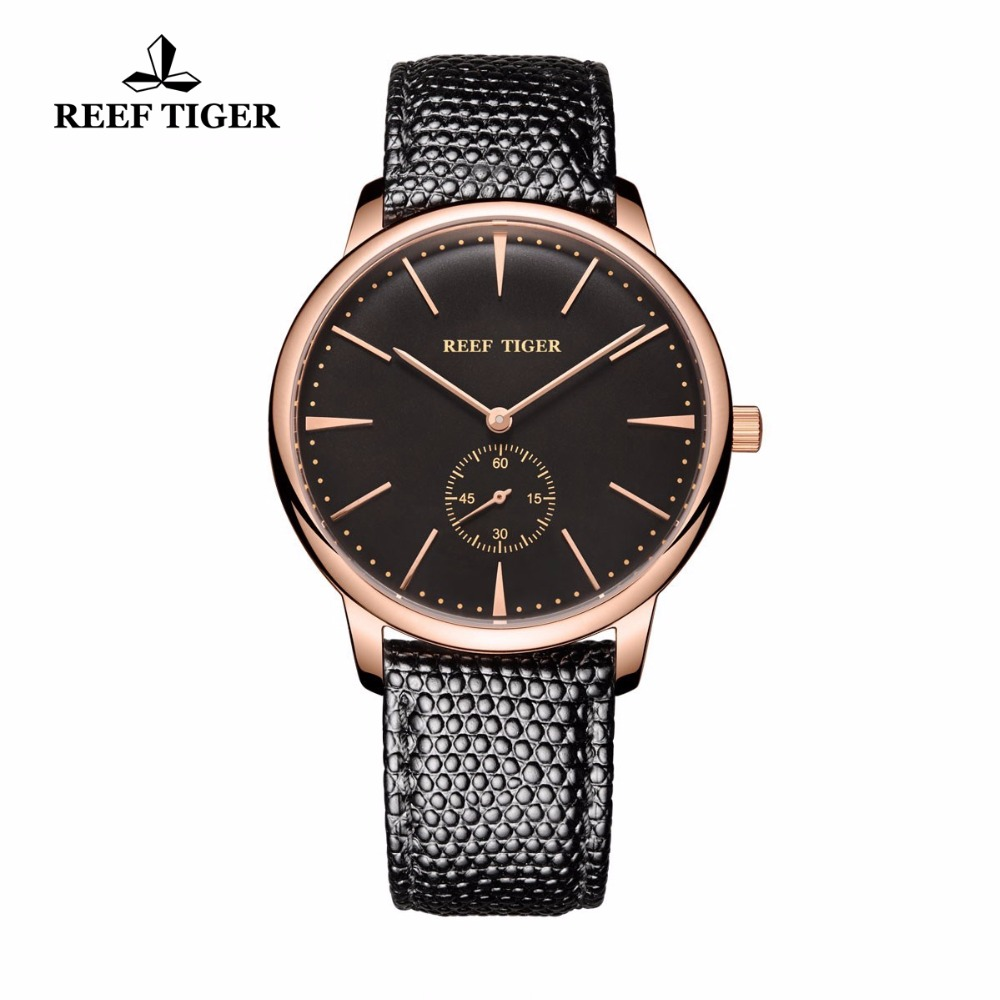 Reef Tiger/RT Couple Watches Rose Gold Ultra Thin Watch With Leather Strap Casual Vintage Quartz Watches For Men RGA820