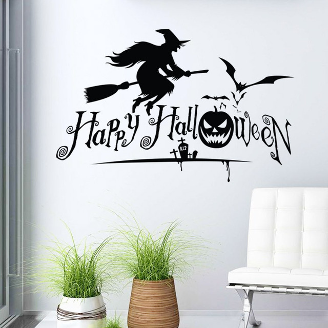hot new halloween witch wholesale childrens room backdrop stickers wall and mirror diy removable waterproof