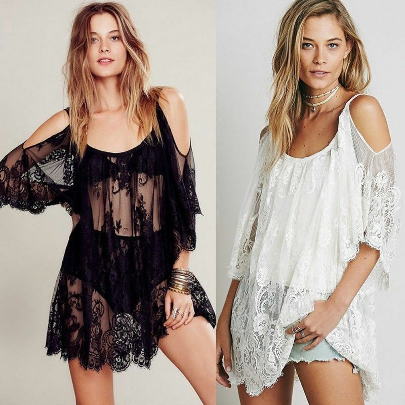 Ladies Beach Bikini Cover Up Lace Hollow Kaftan Sarong Summer Wear Swimwear Sexy Cover-Ups Bathing Suit
