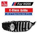 Für MercedesMB W205 GT R Stil Sport Ohne zeichen Kühlergrill C-Klasse C180 C200 C250 ABS Glanz Schwarz frontgrill Grills 15-18