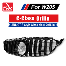 For MercedesMB W205 GT R Style Sports Without sign Front Grille C-Class C180 C200 C250 ABS Gloss Black Grills 15-18