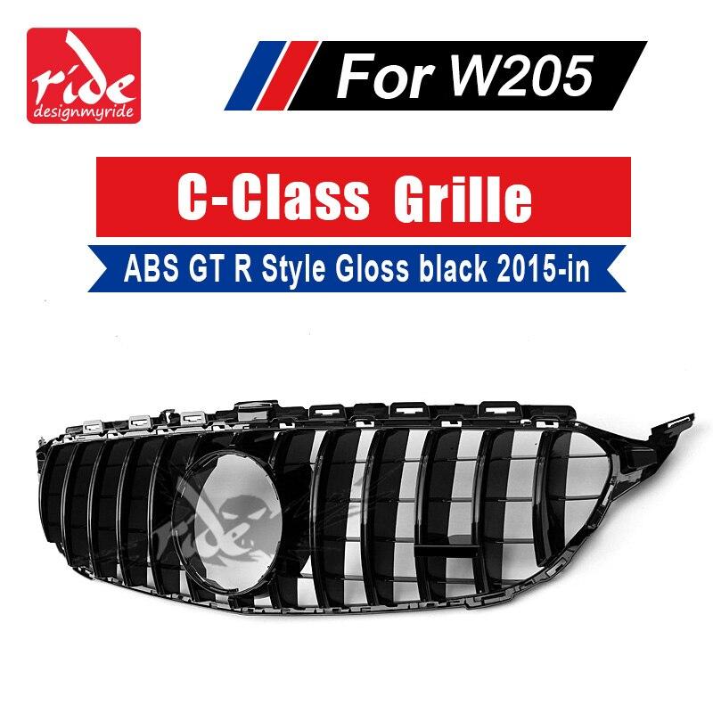 Para MercedesMB W205 GT R Estilo Esportes Sem sinal Grade Dianteira C-Classe C180 C200 C250 ABS Gloss Black frente Grille Grills 15-18