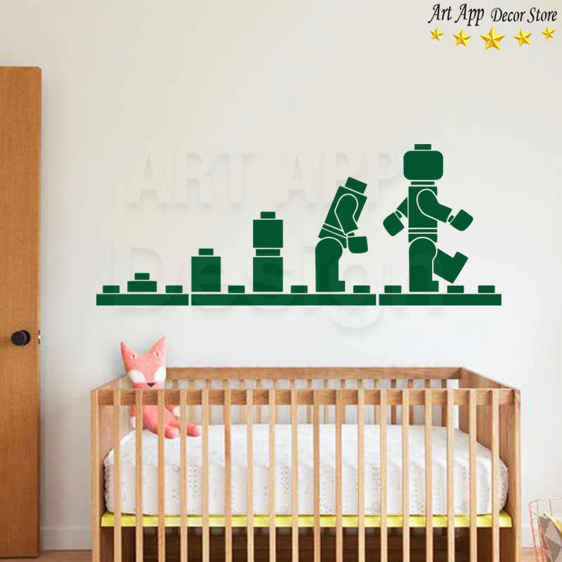 Buena calidad nuevo diseño artístico bloques Lego decoración del hogar vinilo calcomanías de pared extraíbles dibujos animados robot juguete barato etiqueta engomada de la habitación