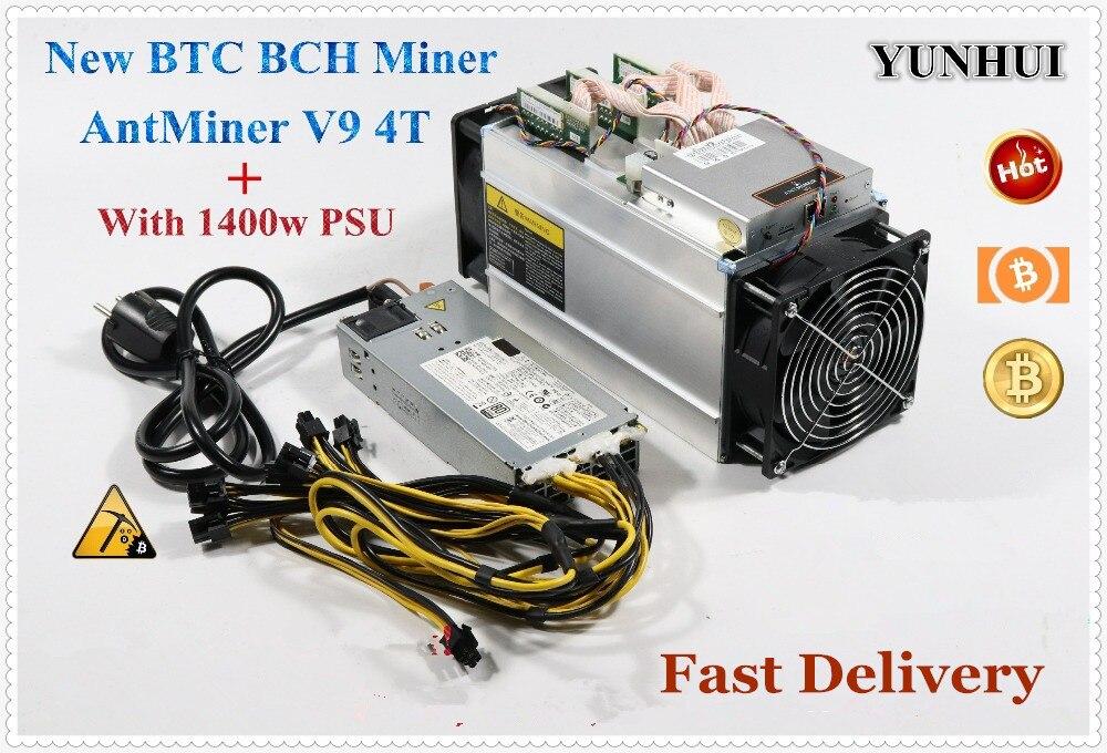 Nowy Bitmain Asic górnik AntMiner V9 4TH/S koparka bitcoinów (z PSU) BTC BCH górnik ekonomiczne niż Atminer S5 S7 S9 S9i S9j T9 +