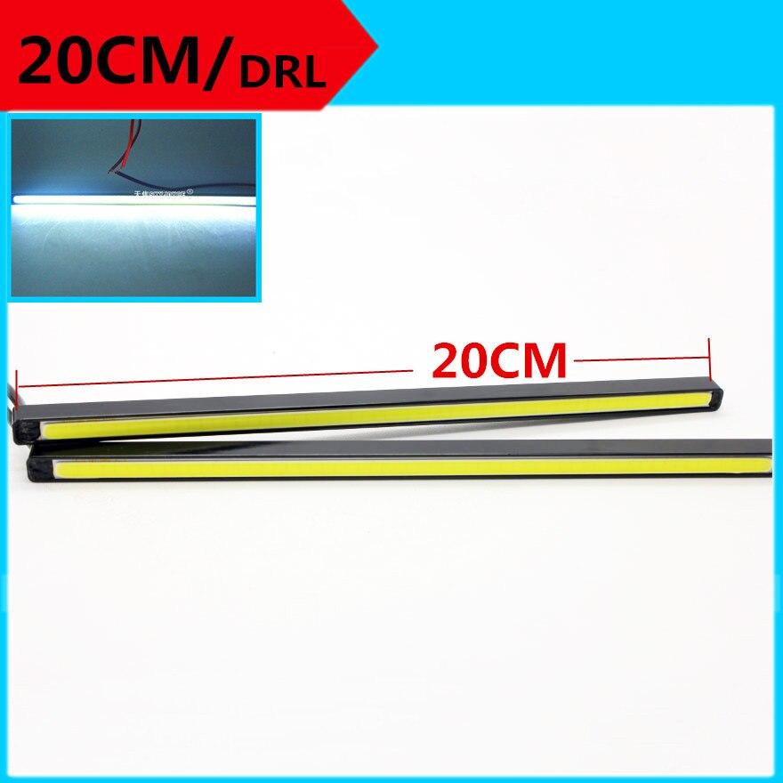 2X DIY 20cm drl Ultra-thin 15W COB LED Daytime Running Light 20cm LED DRL Fog lights car accessories brighter led car