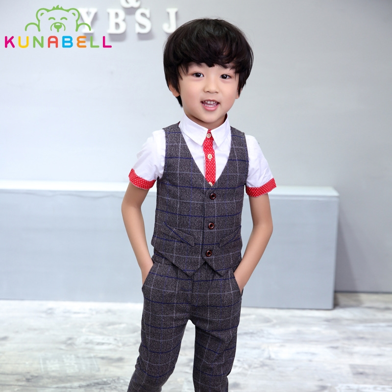 Baby Boys Children Wedding Clothes Kids Tuxedo Formal Suit Blazer Plaid Vest Shirt Pants Toddler Birthday Dress Party Set B038