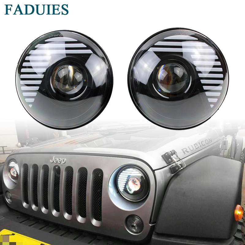 FADUIES 7 Inch LED Headlight H4 High Low Beam With Halo Angel Eyes For Lada 4x4 urban Niva Jeep JK Land rover defender Hummer