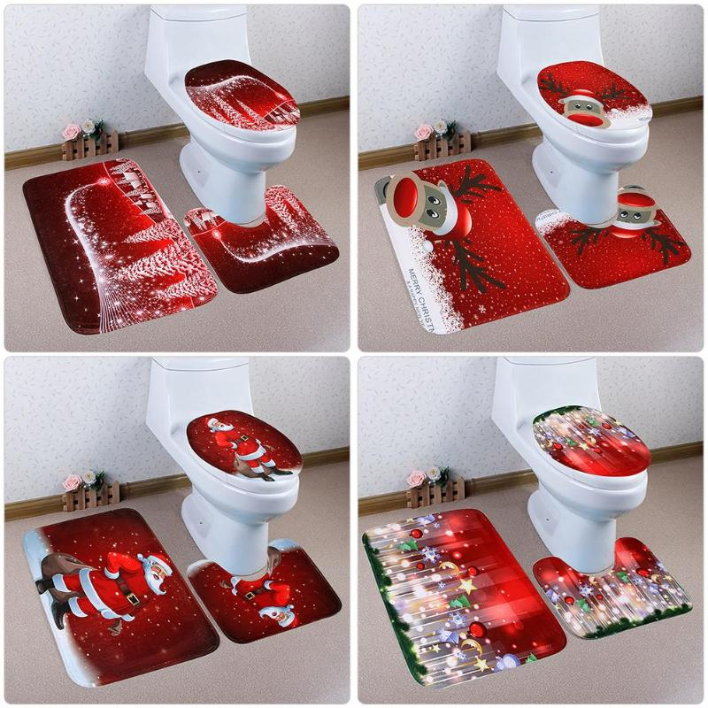 3PCS Fancy Santa Toilet Seat Cover Rug Toilet Decoration Bathroom Set Fancy Santa  Antislip Mat Christmas Decorations for Home