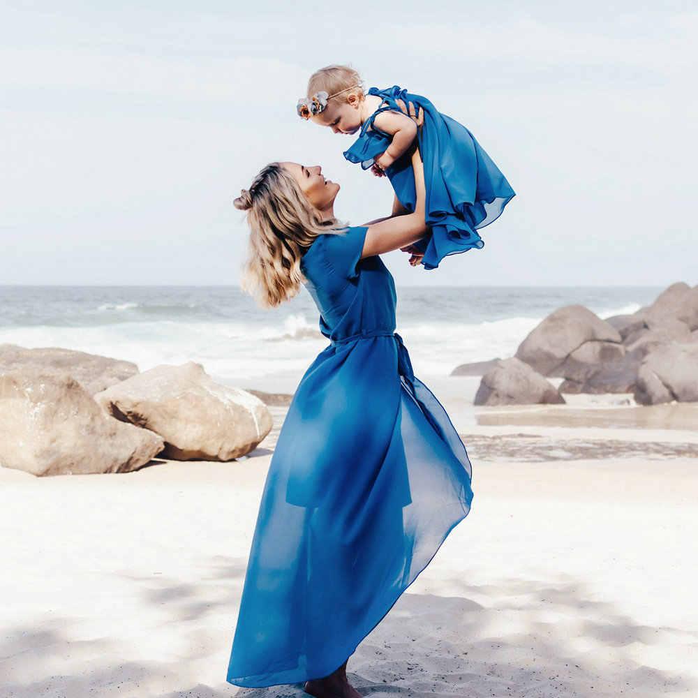 แม่และลูกสาวชุดชีฟองเสื้อผ้าแขนกุดเด็กสาวเสื้อผ้าฤดูร้อน Beach Bress Family Look Matching Mommy และ Me