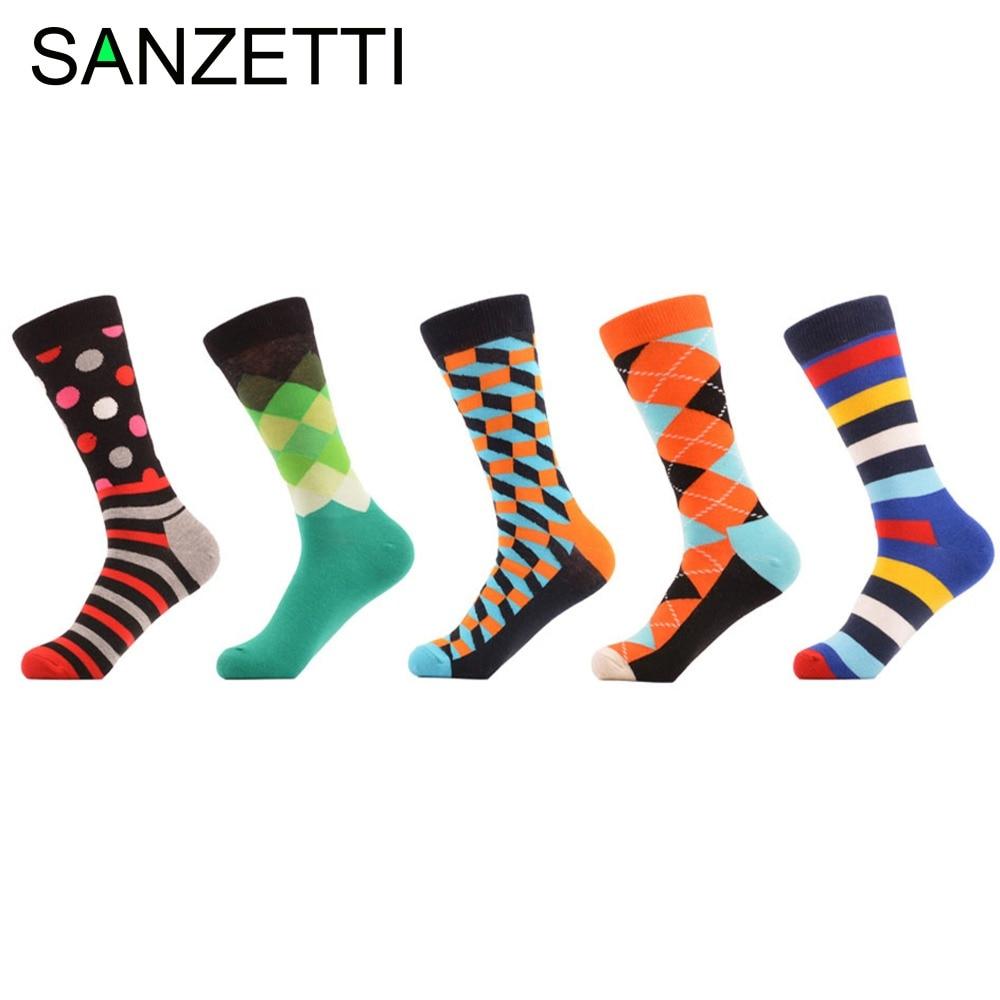 SANZETTI 5 pair/lot Mens Funny happy Socks meia meias Sales wholesale Cotton summer stripe grid Tube geometric colorful Socks