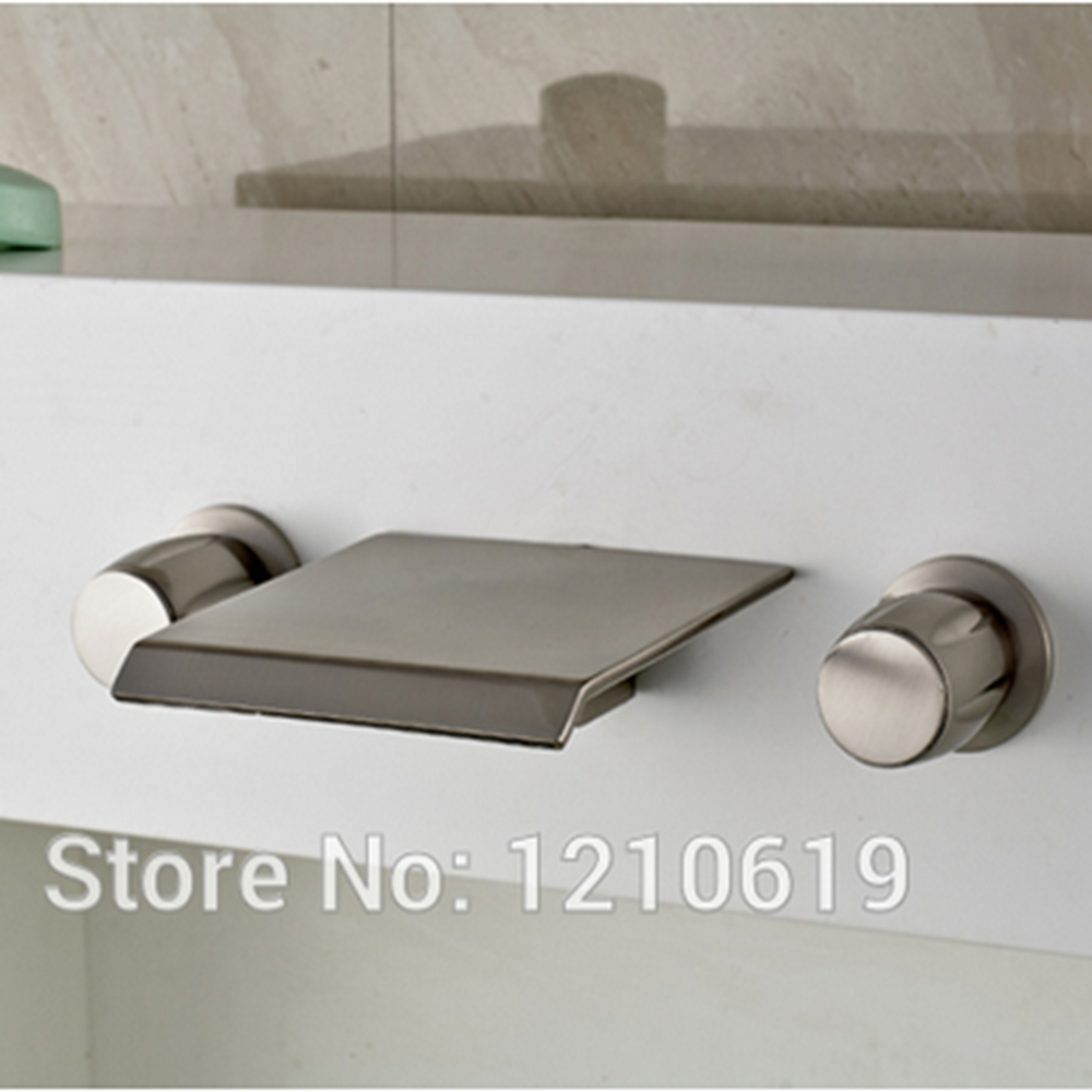 Newly US Free Shipping 3Pcs Dual Handles Bathroom Tub Faucet Nickle Brushed Widespread Waterfall Shower Tap Mixer Tap Wall Mount free shipping wall mounted brushed nickle led light showerhead with shower arm 8 10 12 inch