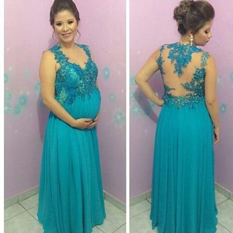 c4efa6855 Nueva Llegada Embarazada Vestido de Fiesta V Cuello Apliques de Encaje de  Gasa Opacidad Volver Turquesa Vestidos de Noche de Maternidad en Vestidos  de noche ...