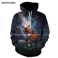 New Men Women Hoodies Fox Harajuku Hip Hop Sweatshirts Space 3d Print Hoodie Tracksuits Plus Size