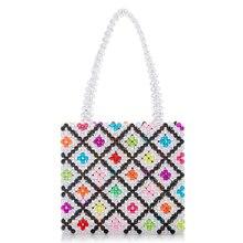 цена Fashion Casual Acrylic Tote Women Pearls Top-handle Plaid Bags Candy Color Ladies Party Evening Handbag Box Beach Bag в интернет-магазинах