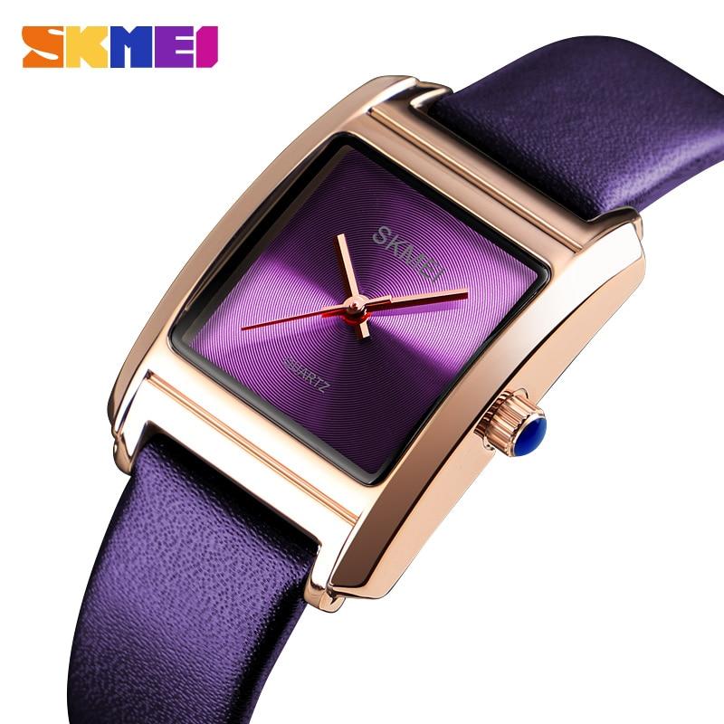 SKMEI Top Brand Luxury Womens Quartz Watches Fashion Leather Ladies Dress Watches Waterproof Clock Watch Women Relogio Feminino