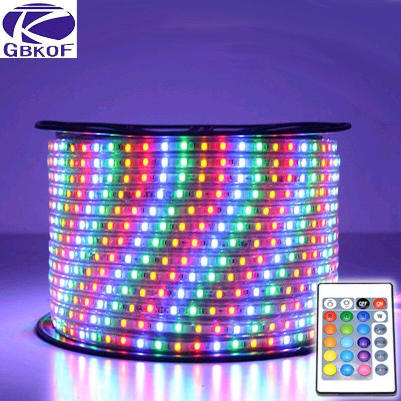220V led strip light waterproof SMD5050 60leds/m RGB Led Tape 15M LED Light EU power plug with remote controller RGB led strip