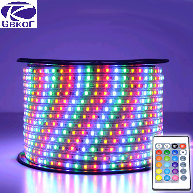 220V led strip light waterproof SMD5050 60leds/m RGB Led Tape 15M LED Light EU power plug with remote controller RGB led strip good group diy kit led display include p8 smd3in1 30pcs led modules 1 pcs rgb led controller 4 pcs led power supply