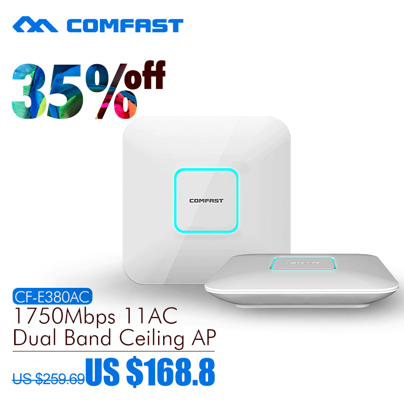 comfast cf e320n 300mbps ceiling ap 802 11b g n wireless ap wifi coverage router 16 flash wifi access point add 48v poe power COMFAST wireless Ap CF-E380AC 1750Mbps Ceiling AP 802.11AC 5.8G+2.4G Qualcomm Indoor AP 48V POE power 16 Flash WiFi Access Point