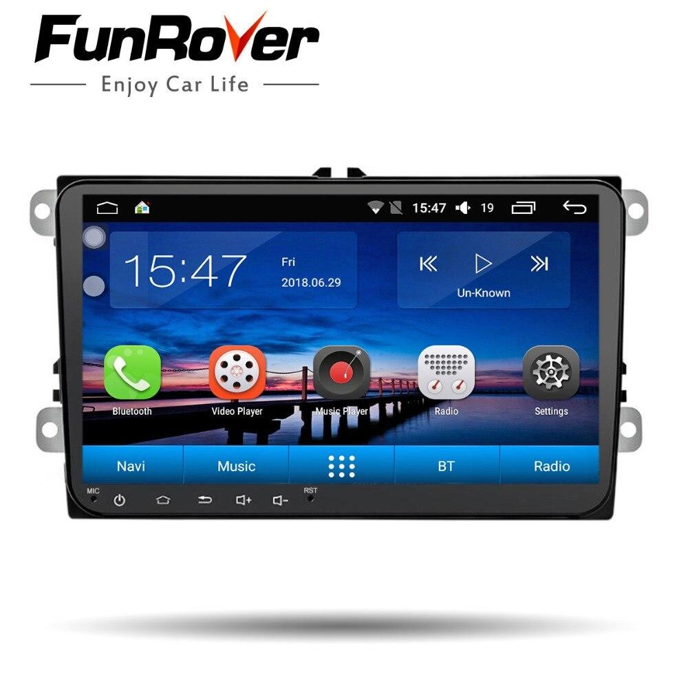 FUNROVER android 8.0 dvd do carro Para Volkswagen passat b6 b7 golf polo tiguan octavia fabia 5 com navegação do gps do carro jogador de rádio
