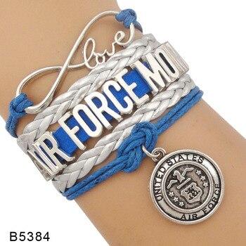 Infinito amor Estados Unidos fuerza aérea chica amiga esposa mamá azul real oro rojo gamuza cuero Airforce pulseras para mujeres