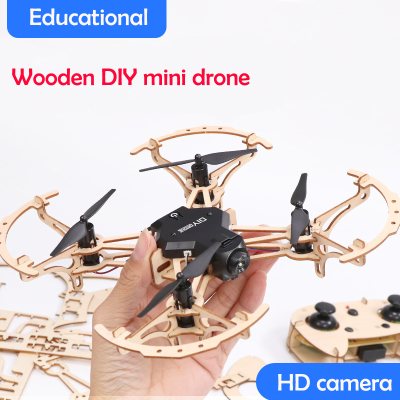 2019 new DIY Mini Micro Wooden Quadcopter RC Drone WIFI APP Remote Control FPV HD Camera Welding-Free Assembly Teaching Copter