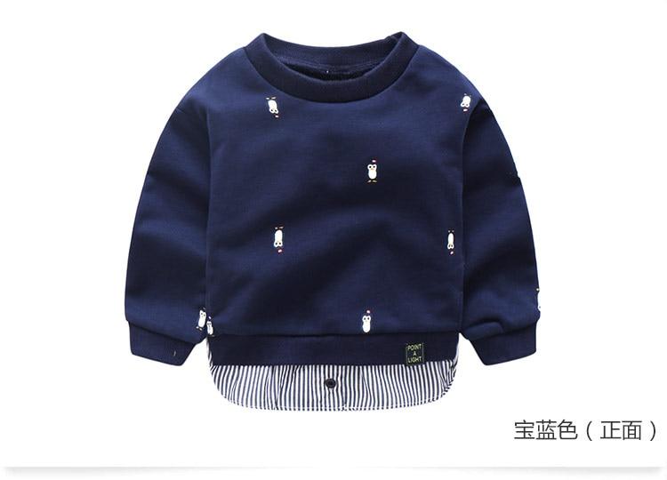 2018 Spring Autumn 2-10 Years Old Children Long Sleeve Cartoon Animal Print Patchwork Fake 2 Pcs Kids Basic Sweatshirt Baby Boy (11)